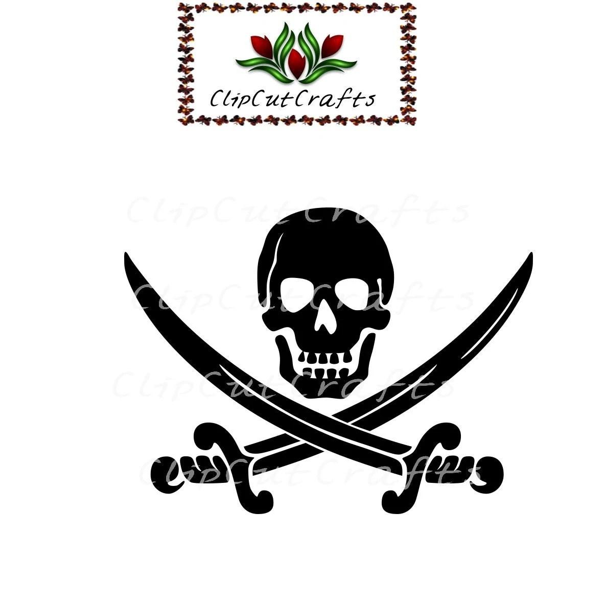 Pirate Flag Skull Crossbones Silhouette Cut File Print And