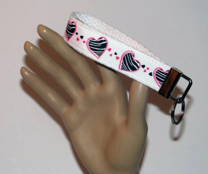 Key fob, key wristlet,key holder, keys, key chain, key holder, keys, house keys, house key holder, striped hearts key fob, pink and black