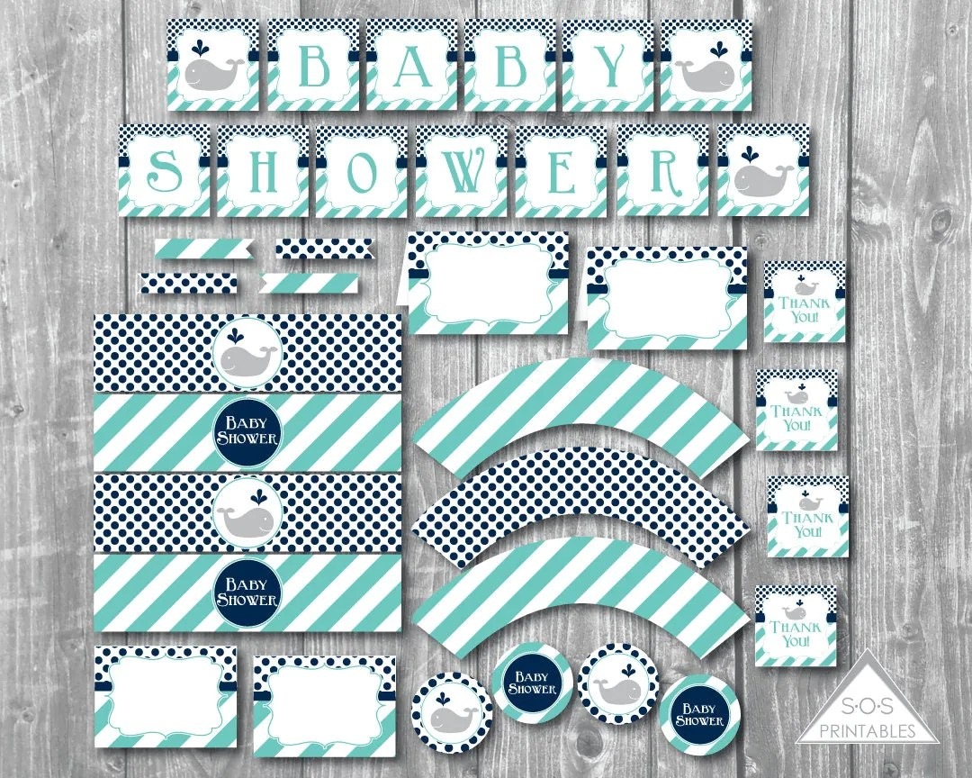 Whale Baby Shower Printables Boy Baby Shower Blue Whale