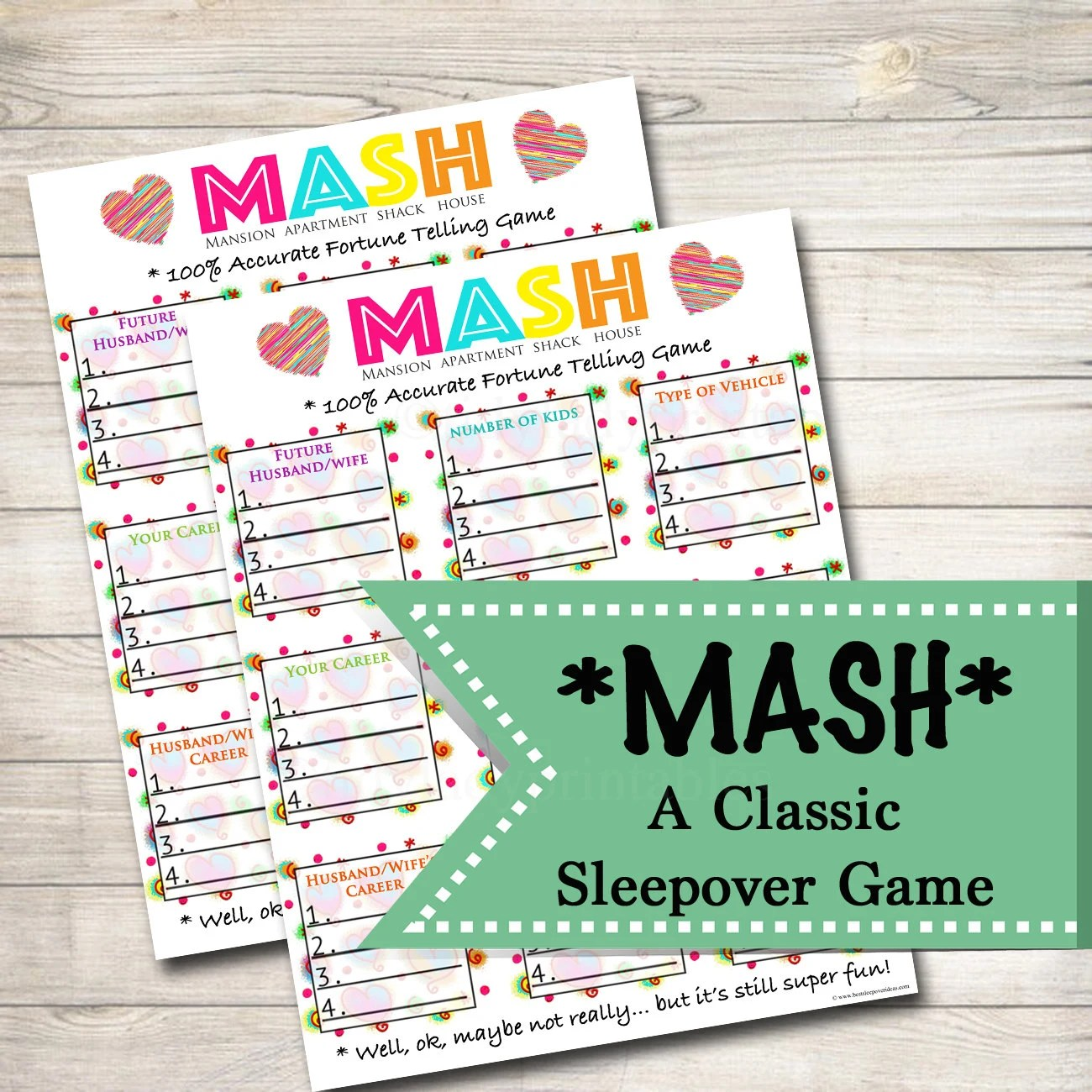 Printable Mash Game Girls Party Game Spa Party Beauty Party