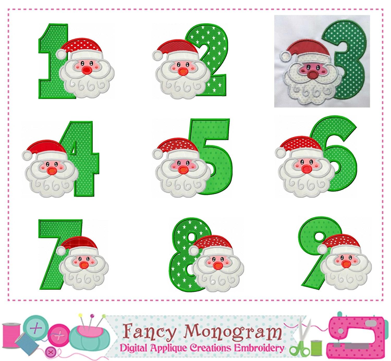 Christmas Numbers Applique Santa Claus Numbers Applique