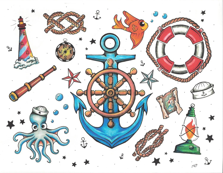 Nautical Tattoo Flash Sticker Sheet From Ladyluckingart On Etsy Studio