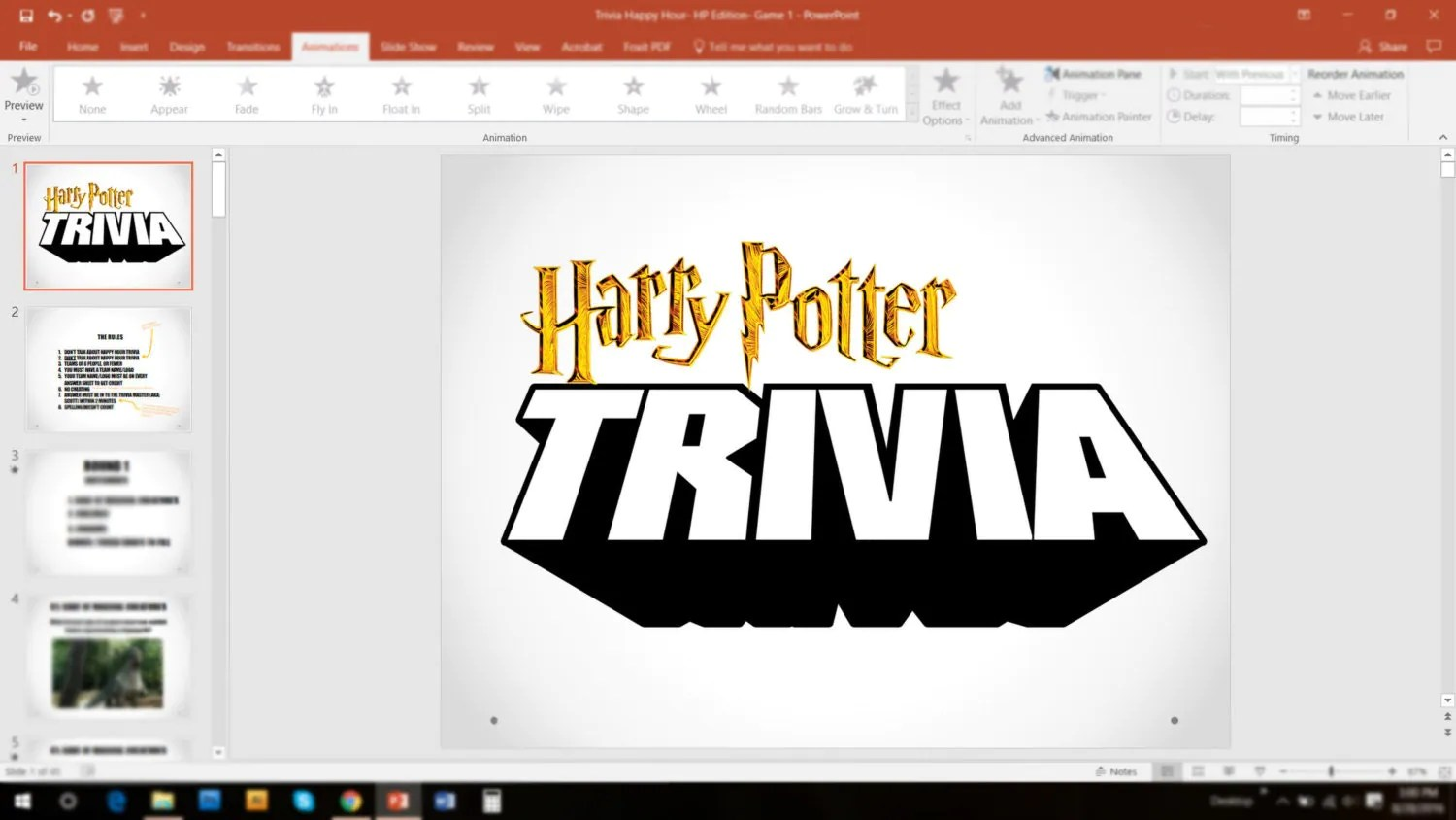 Harry Potter Trivia Game 1 Powerpoint