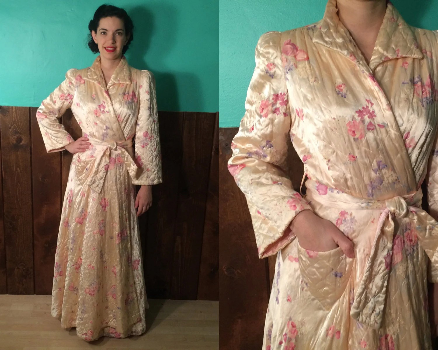 Vintage 1940s Robe Quilted Floral Satin Loungewear