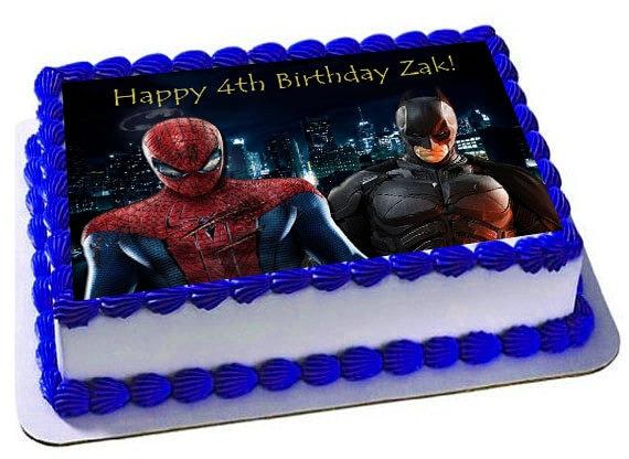 Spiderman Vs Batman Edible Cake Topperfrosting