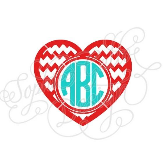Download Chevron Heart Valentine Monogram SVG DXF digital download ...