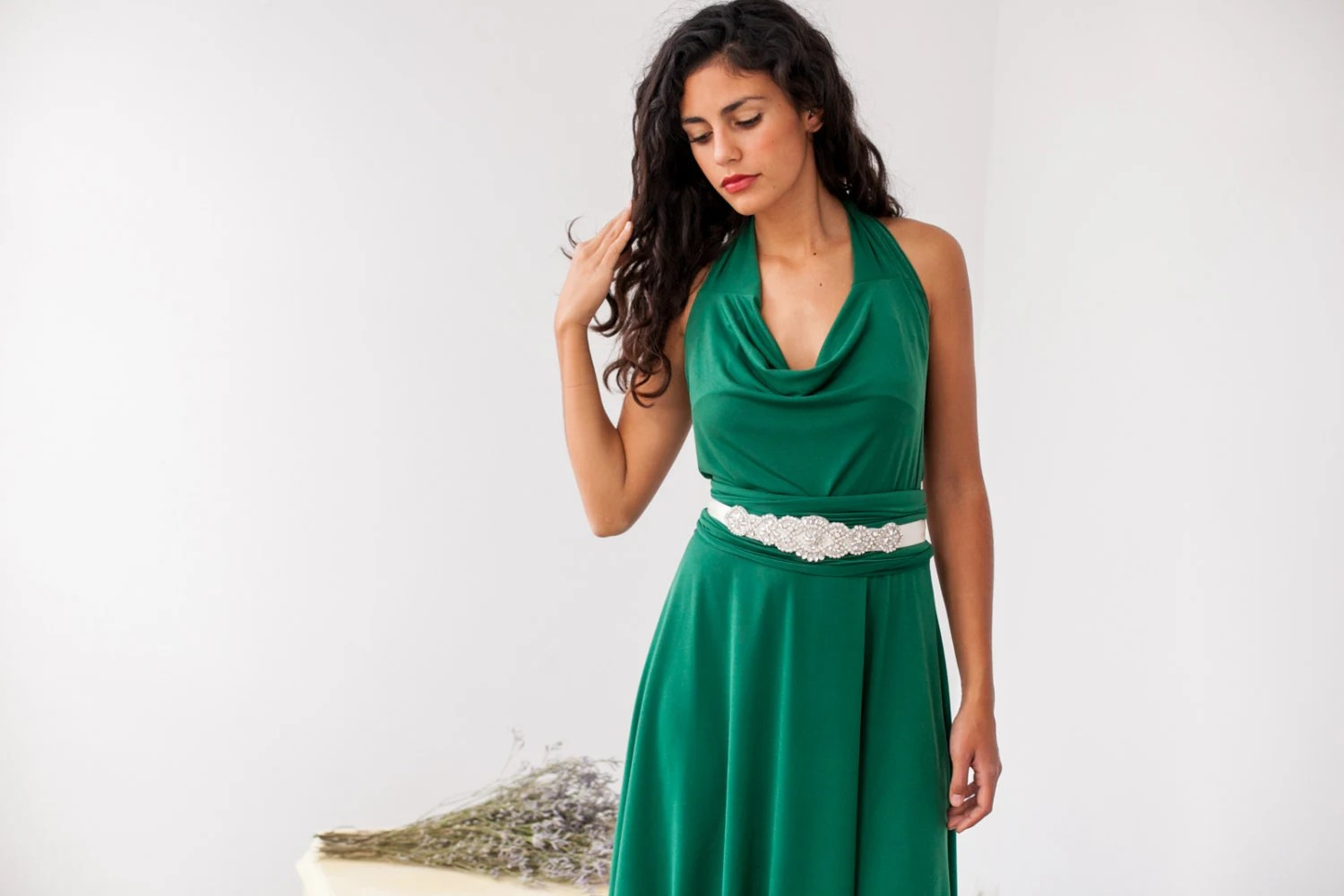 Green Convertible Bridesmaid Dress Cowl Neck Convertible