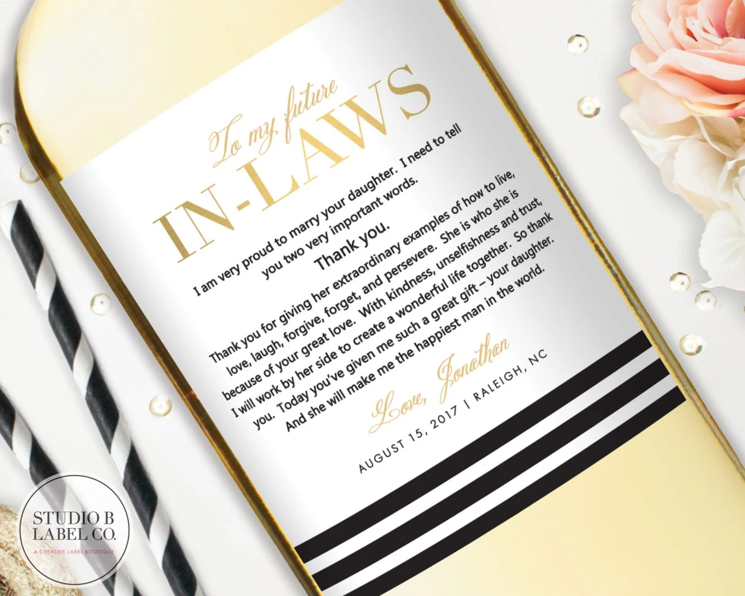 In Law Wedding Gift Wine Labels Gift For Inlaws Wedding