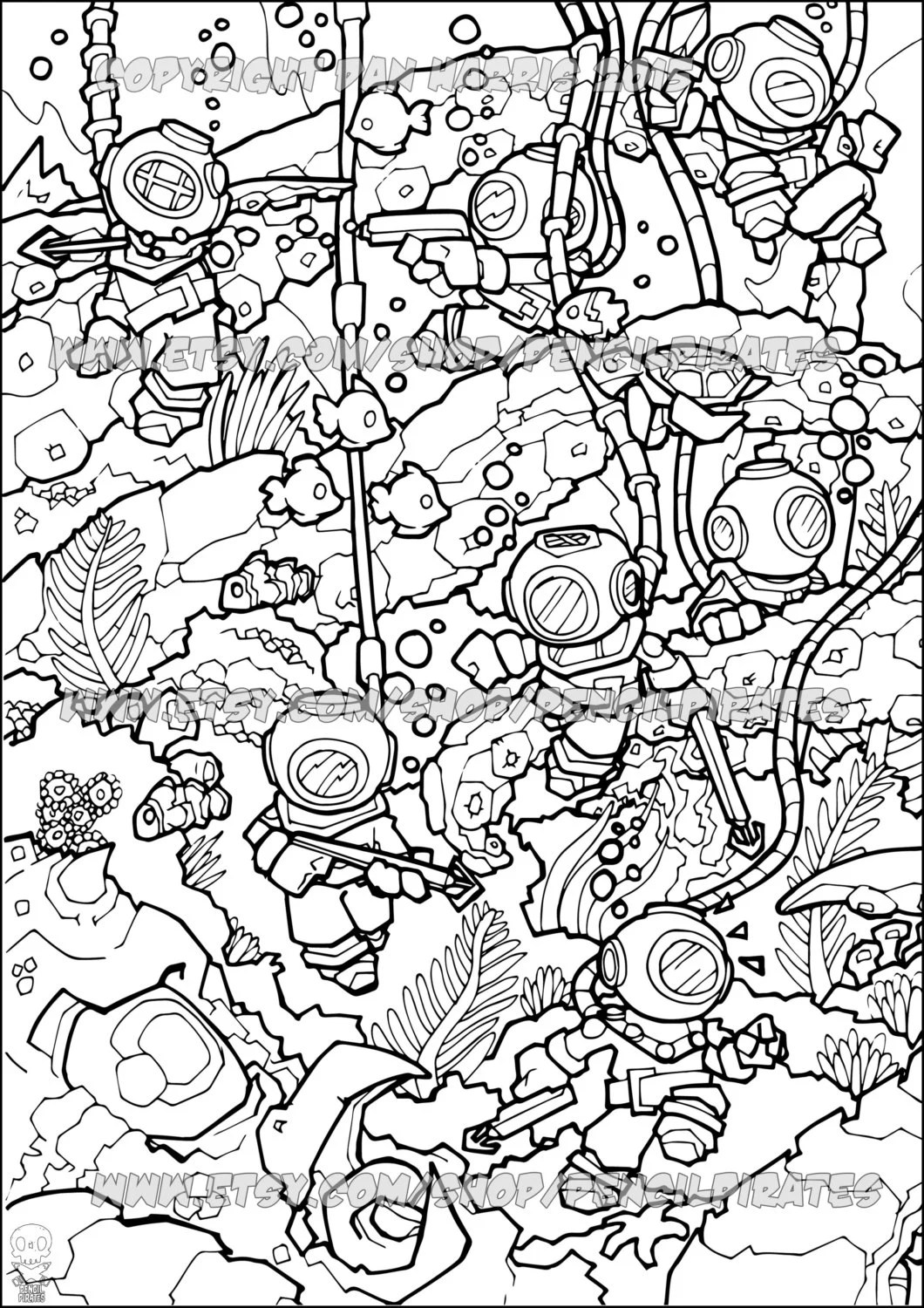 Underwater Adventure Colouring Page Adult Colouring Book Page