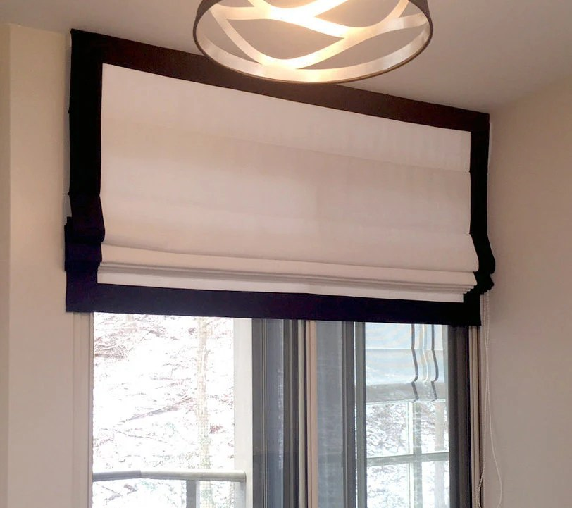 Flat Roman Shade White With Black Border With