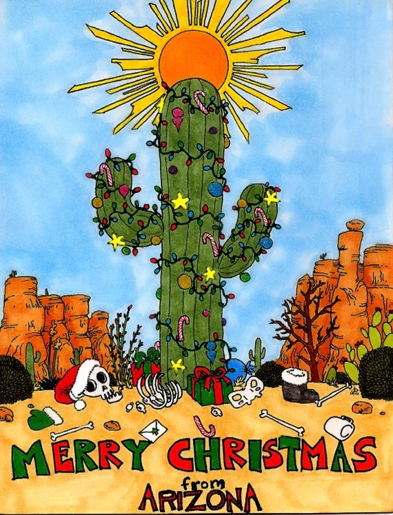 Merry Christmas From Arizona Greeting Cards With Envelopes Set
