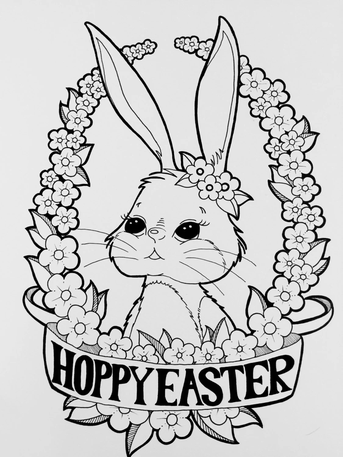 Digital Coloring Page Happy Easter Bunny Coloring Page