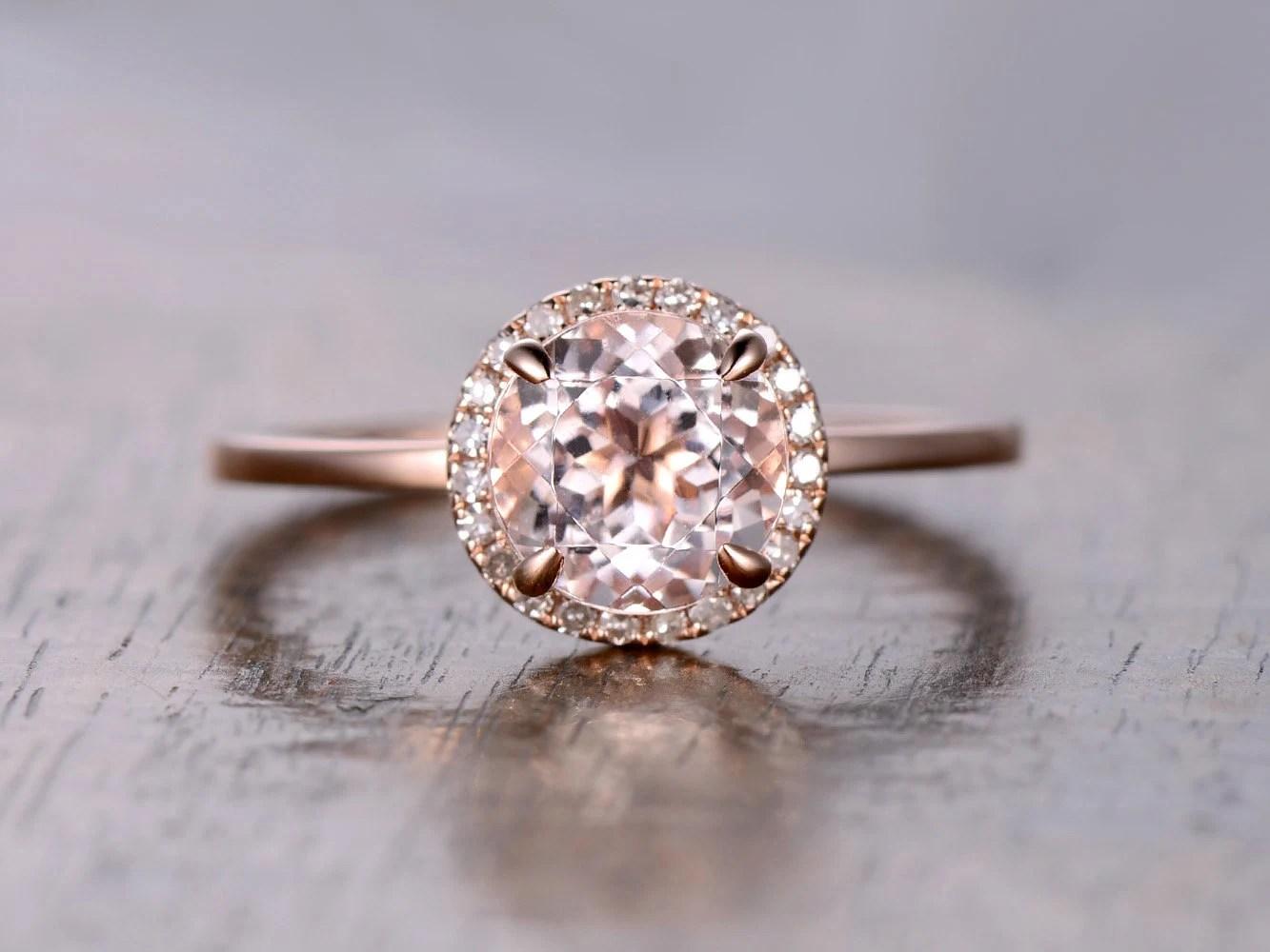 7mm Round Cut Pink Morganite RingMorganite Engagement