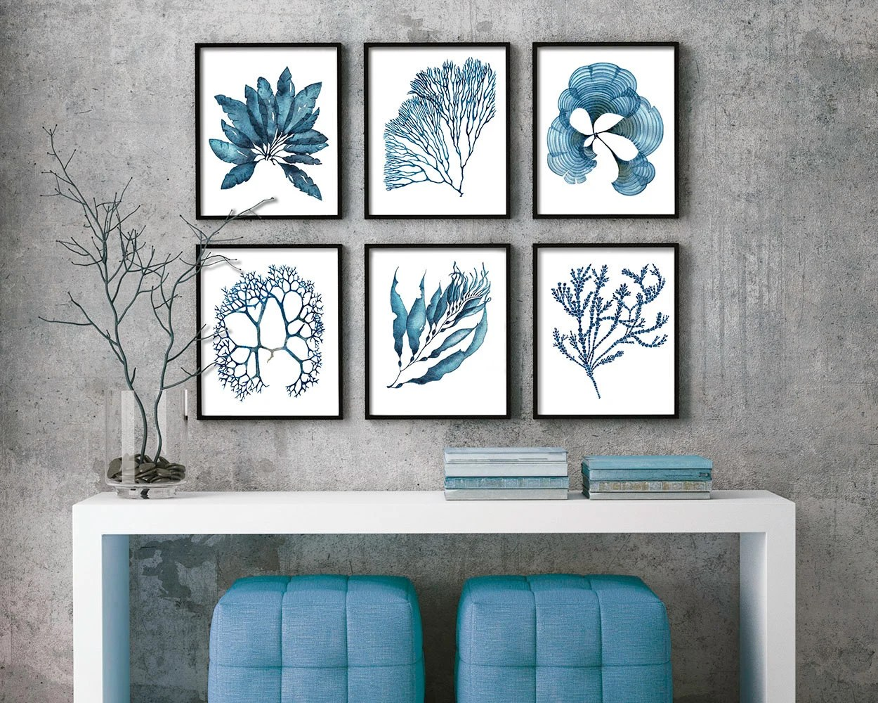 Set Of 6 Coral And Seaweed Nautical Prints In Blue Set3