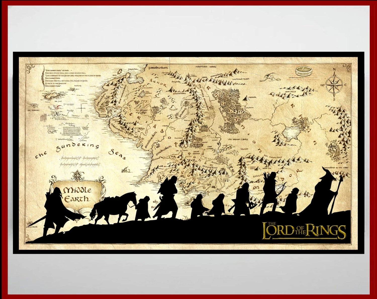 Lord Of The Rings Middle Earth Map The Hobbit By
