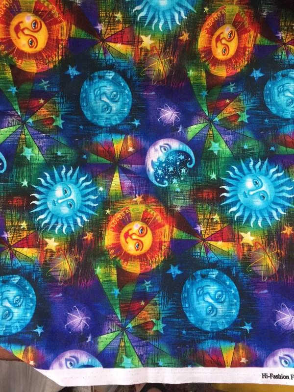 Celestial Sun Moon and Stars Fabric