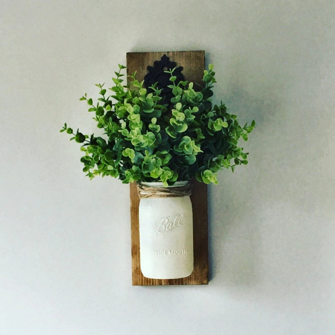 Hanging Mason Jar Greenery Included Mason jar Sconce on Wall Sconces For Greenery Decoration id=57396