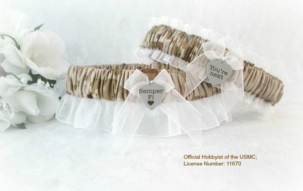 Military U.S. Marine Wedding Garter Set By CreativeGarters