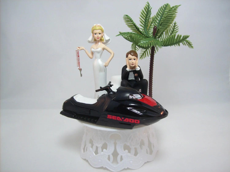 JET Ski WEDDING Cake TOPPER WDie Cast Black Ski Sea Doo Wave