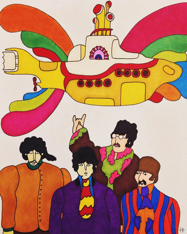 Beatles Yellow Submarine Print Wall Art