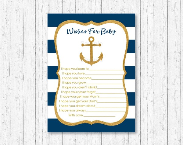 Nautical Wishes for Baby Advice Cards / Nautical Baby Shower