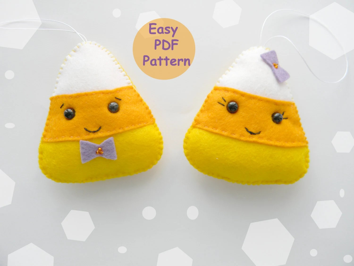 Easy Pattern Felt Candy Corn Ornament Halloween Ornaments