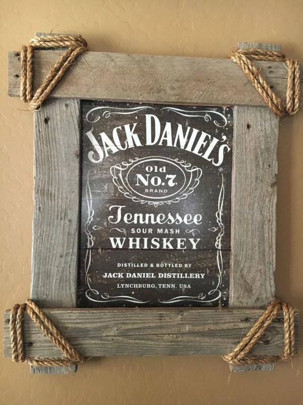 Reclaimed Wood Frame Framed Tin Sign Jack Daniels by ...
