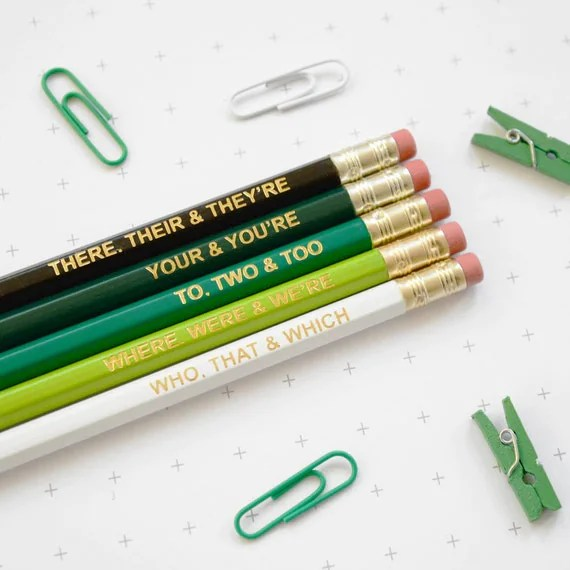GRAMMAR PENCIL SET Ombre Green Coloured Pencils Gift for School English Teacher Graduation Present Colourful Retro Hex Gold Type Handmade Uk