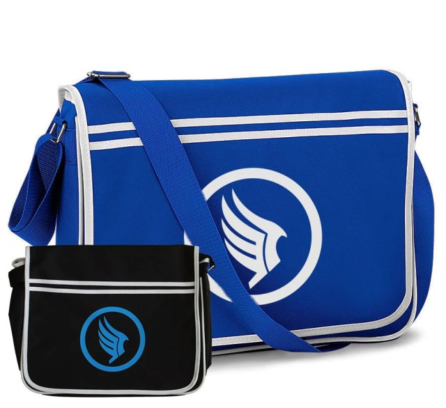 Mass Effect Paragon Gaming Geek Nerd Shoulder Messenger Bag Black Royal Blue