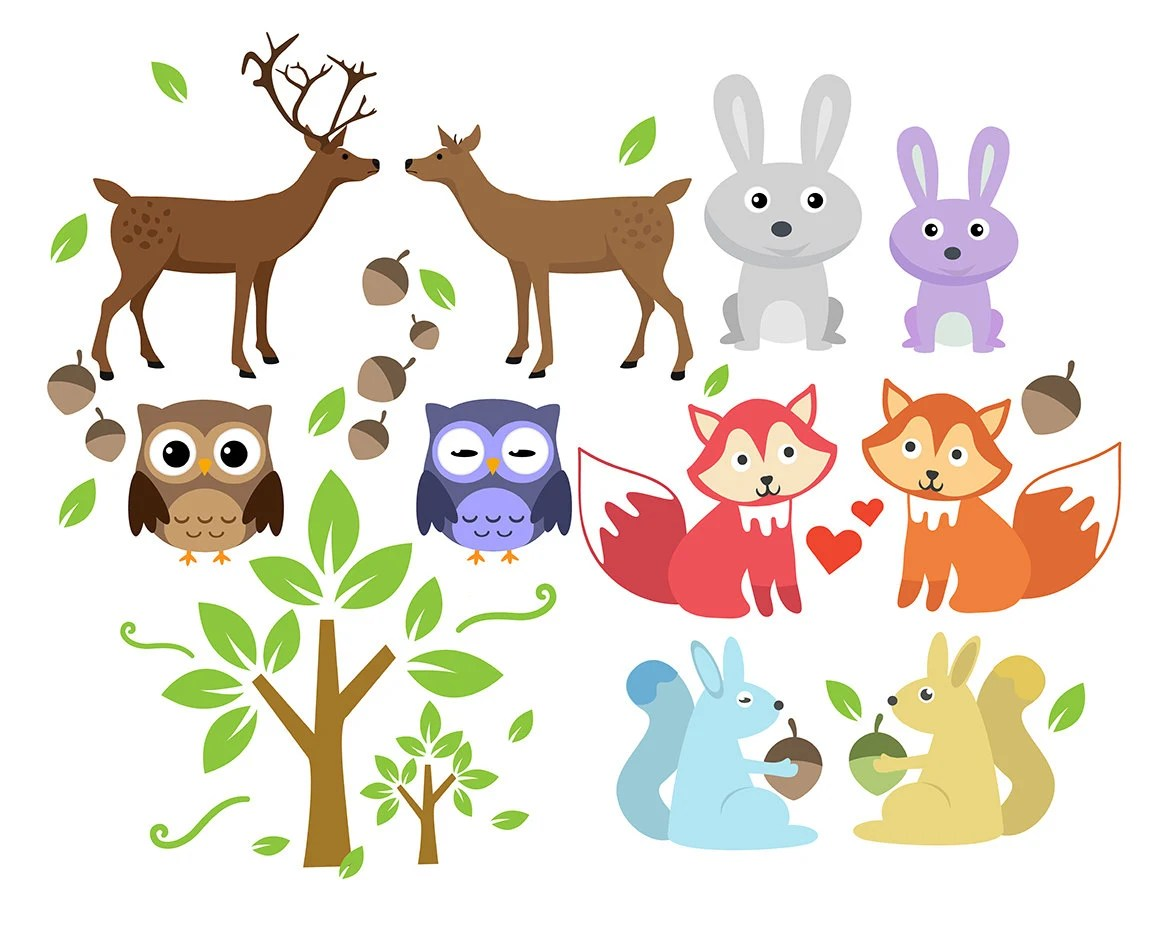 Sale Forest Animal Clipart Animals Clip Art Set Deer