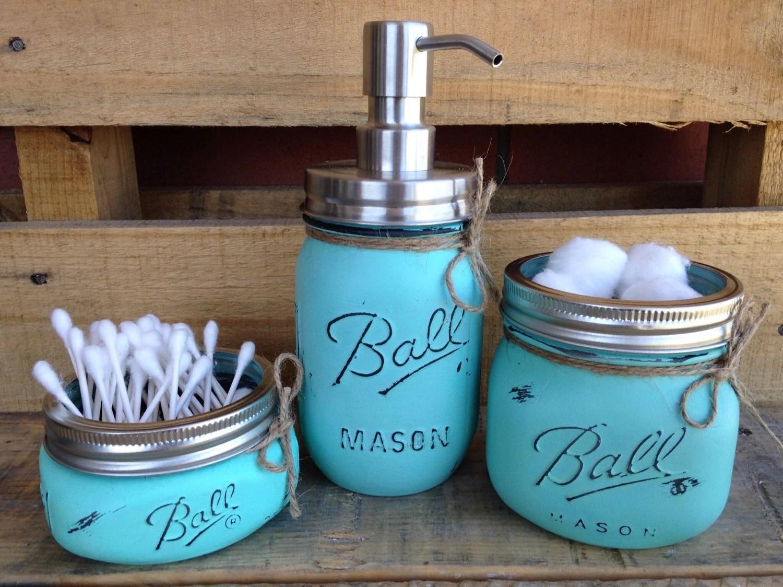 Painted Mason Jars. Bathroom Decor. Home Decor. Beach Bathroom