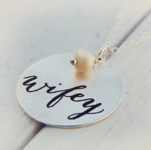 Wifey Necklace, Gift for Wife, Bridal Shower Gift, Christmas Gift, Anniversary Gift