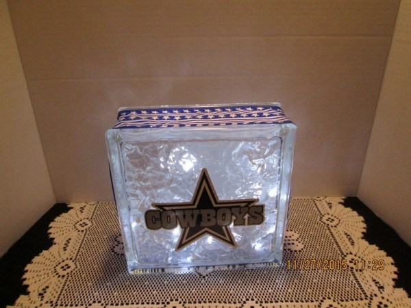Dallas Cowboys on frosted glass block