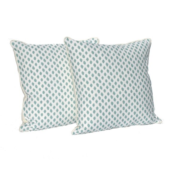 "Decorative Pillows – Aqua and Ivory Dotted Pattern- Designer Fabric- 20"" Pillows - Hidden Zipper Closure"