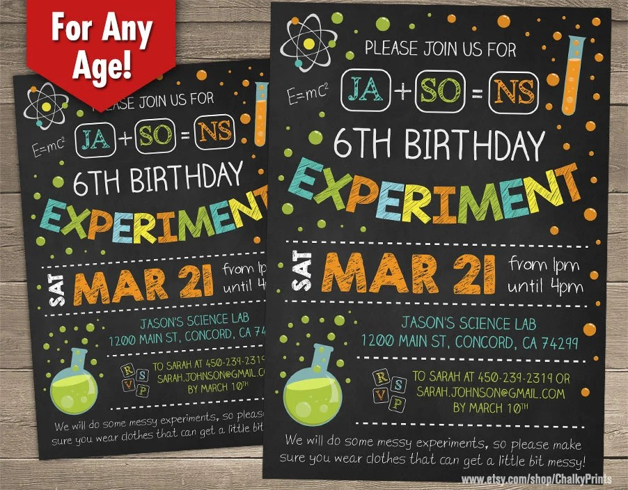 Science Birthday Invitations Science Birthday Party Science