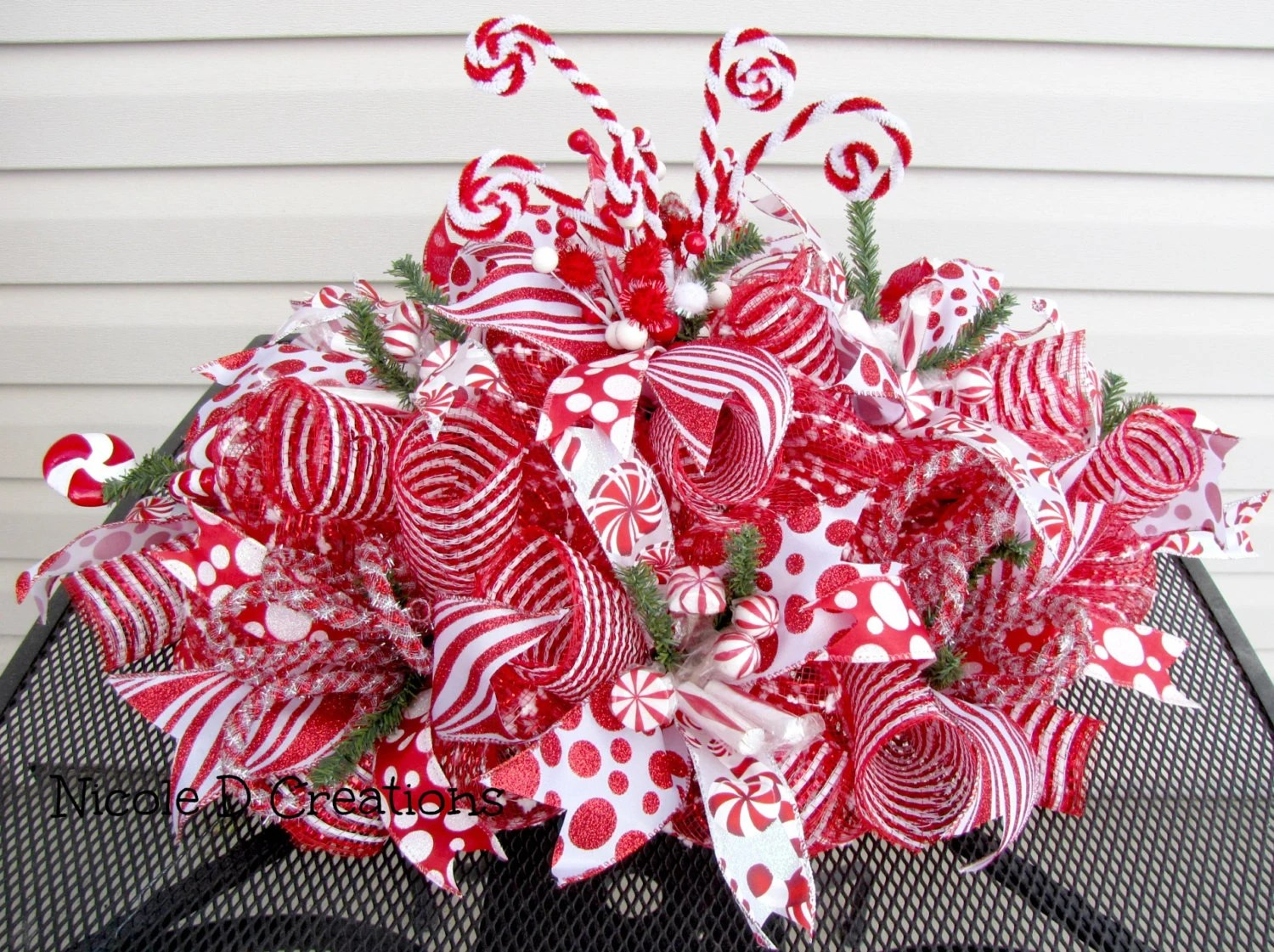 Christmas Centerpiece Red And White Candy Cane Holidays Home