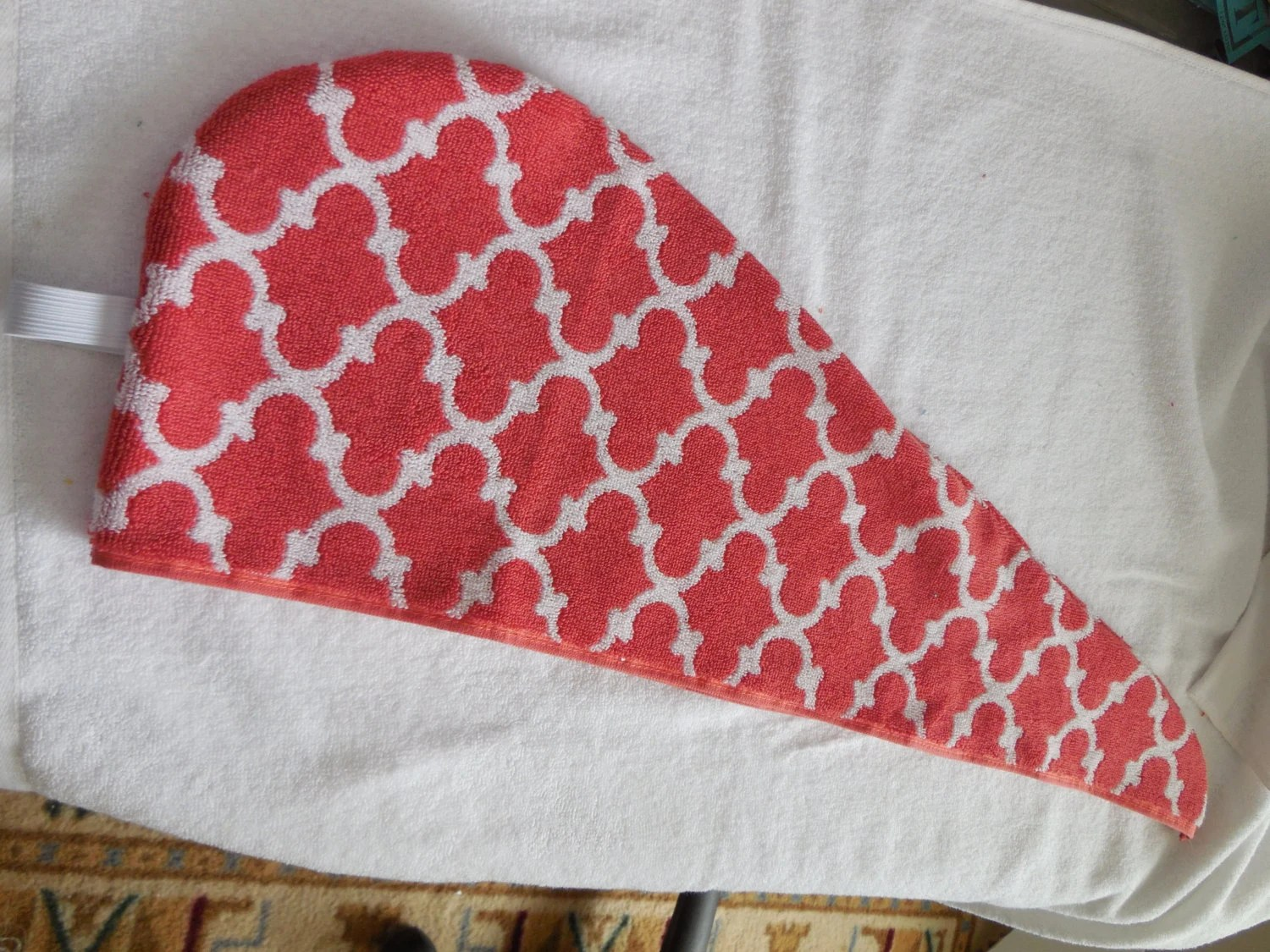 Coral Trellis Pattern Hair Towel Wrap Extra Long To Fit All