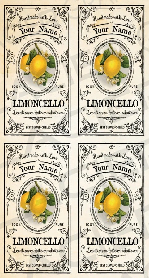 CUSTOMIZED Limoncello Labels Limoncello By WAGlacierGraphics
