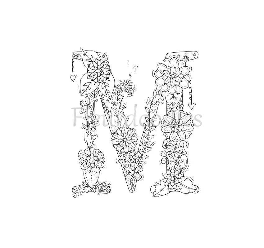 Coloring Page Floral Letters Nursery Alphabet M Hand