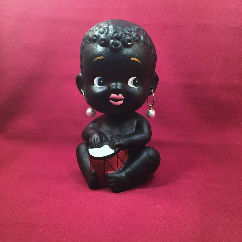 Vintage Ceramic Black Americana Girl Bobble Head Coin Bank