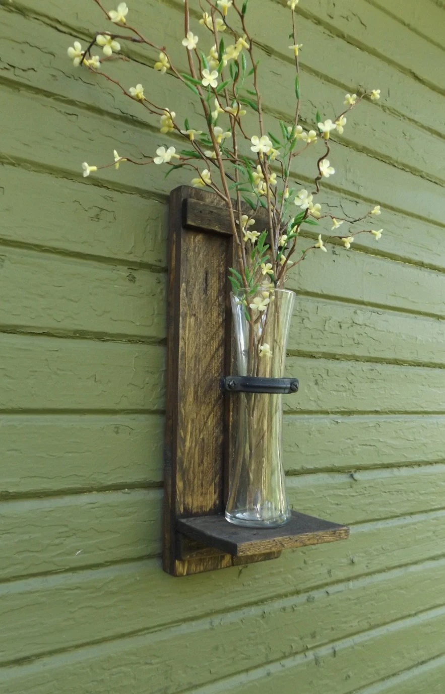 Rustic Wall Sconce. Wood Wall Sconce. Wall Vase Sconce. Vase on Wall Sconces With Flowers id=70003