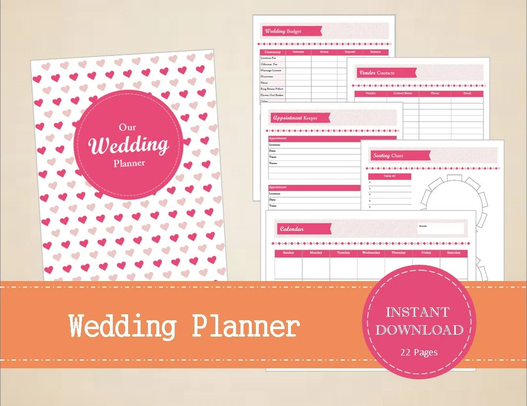 Wedding Planner Wedding Binder Printable And Editable