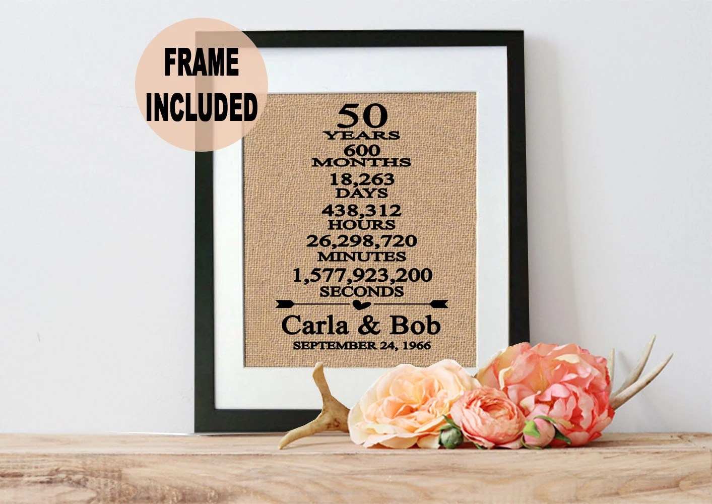 50th Wedding Anniversary Gift/ 50th Anniversary Gift/ 50 Years