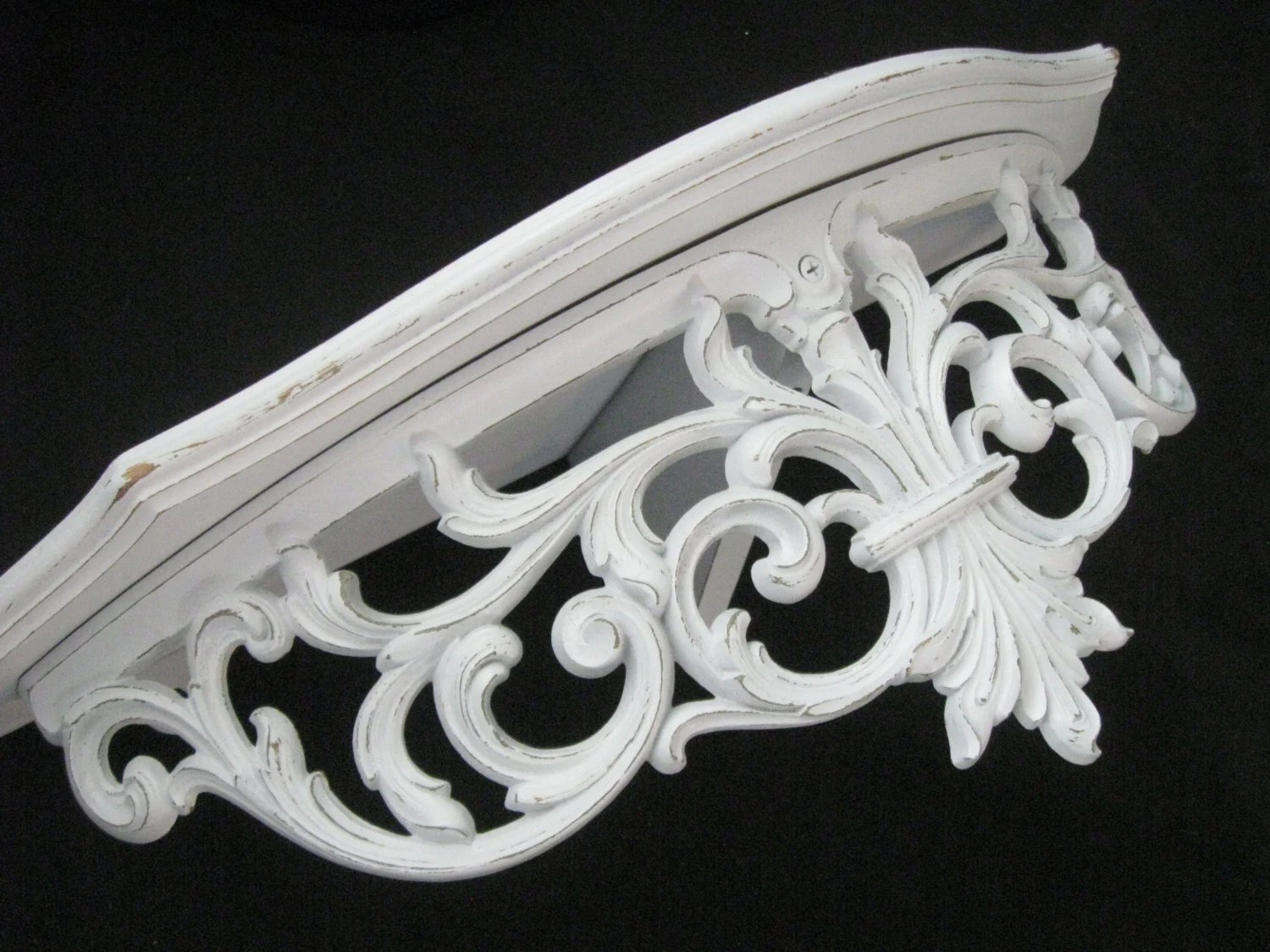 Large White Ornate Wall Shelf Shabby Chic DecorVintage