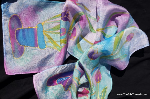 "Tulips on Silk Scarf, flower art, blues and purples silk, tulip art, Original hand painted silk art by artist M Theresa Brown, 8"" x 54"" OOAK"