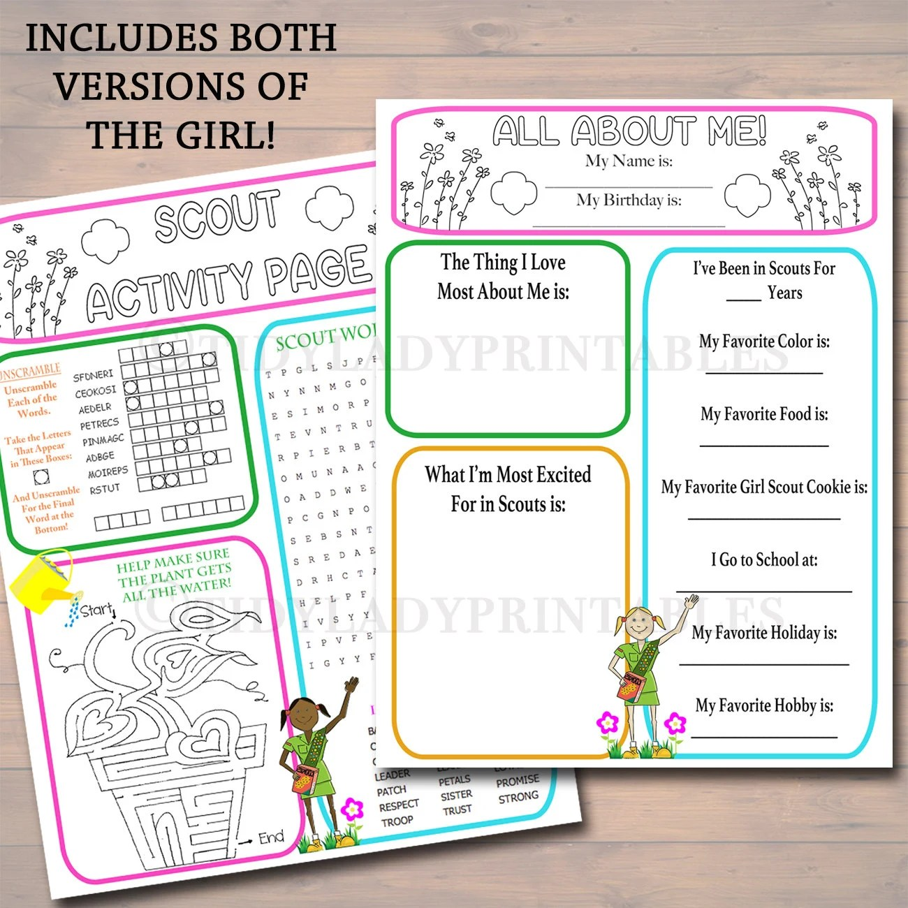 Girl Scouts All About Me Amp Activity Sheets Girl Scout