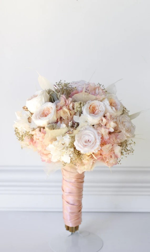 Rose Gold Bridal Bouquet, Preserved flowers not dried flowers. Pink and white roses, hydrangea, gold babies breath, matching bridesmaids.