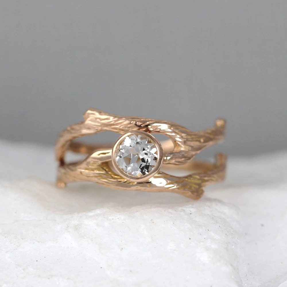 Branch Style Engagement Ring And Wedding Band Set Twig Rings