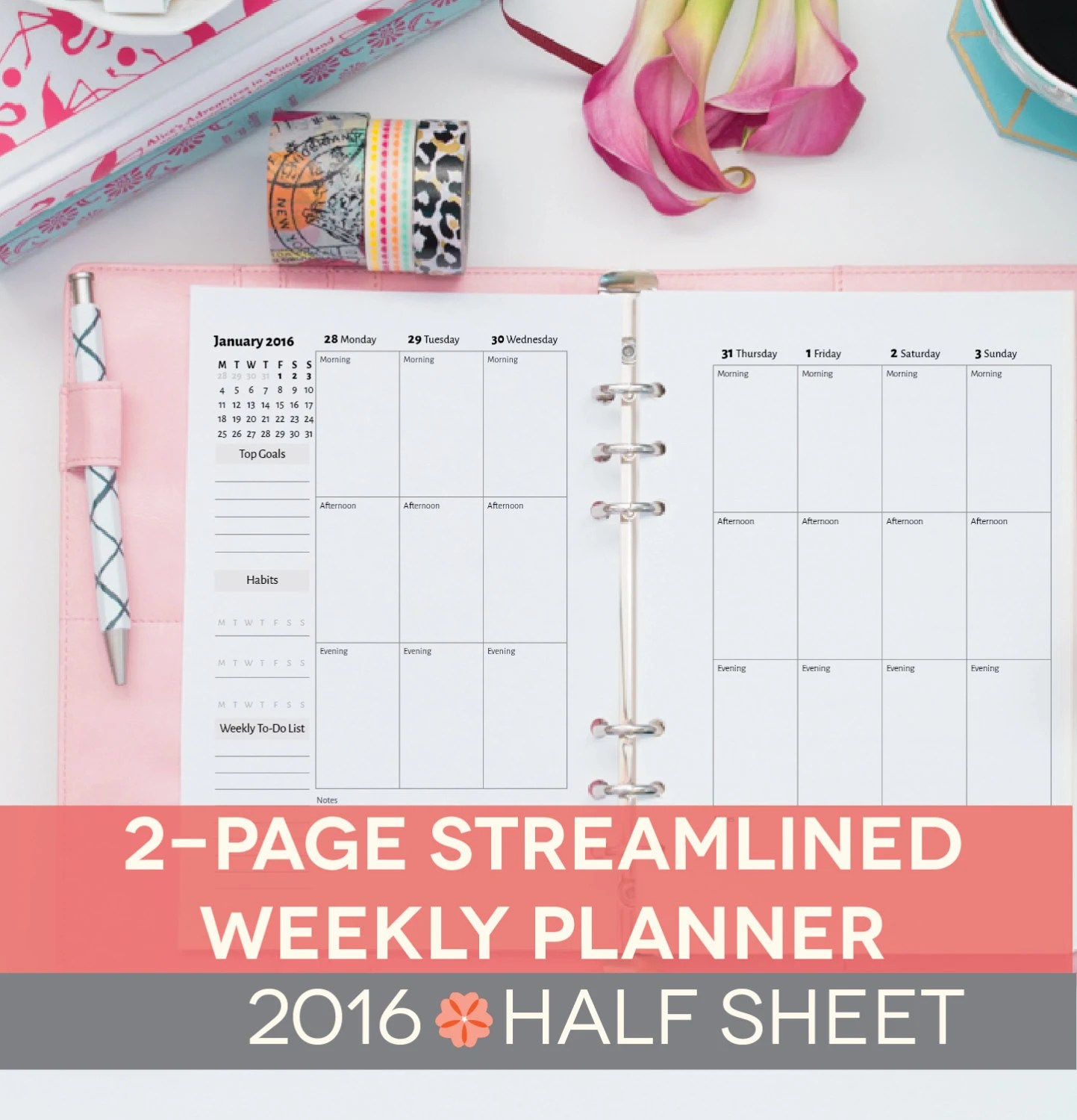 Weekly Planner Printable Half Sheet 2 By Perennialplanner