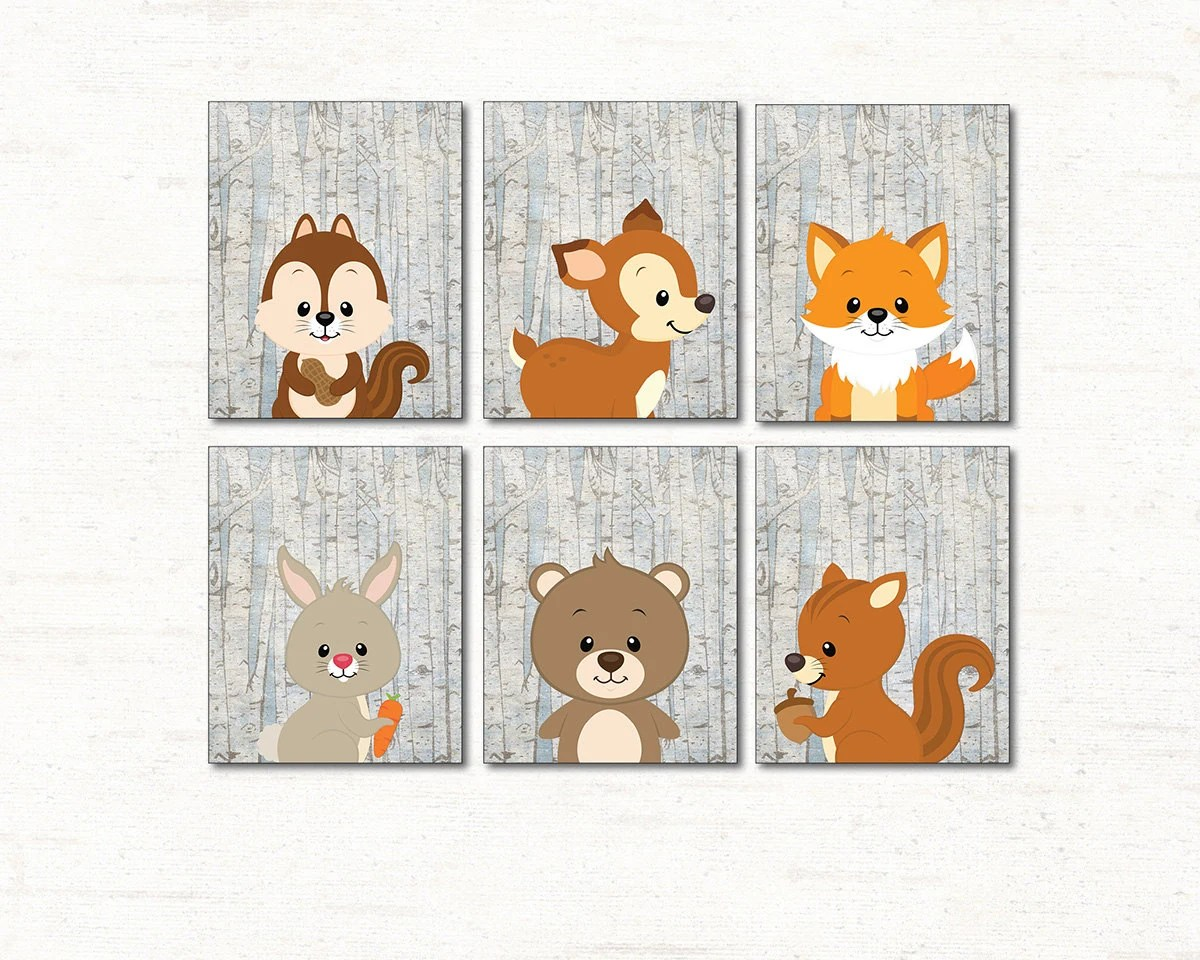 Woodland Animals Set Of 6 Printable Nursery Wall Art Forest